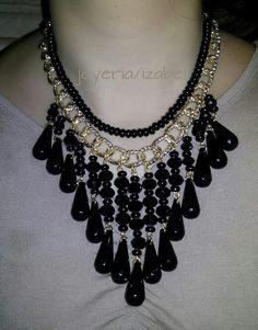 Collar de gotas negras precioso
