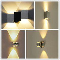 2W LED Wandleuchte Leuchte Flurlampe Lampe Deckenlampe Warmweiß Wandlampe Alu. in Möbel & Wohnen, Beleuchtung, Wandleuchten | eBay