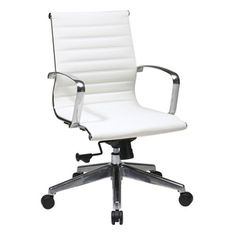 Office Star Back Office Chair, White. Bring stylish good looks, hours of comfort, and quality support to your workspace with the Office Star eco leather midback office chair.