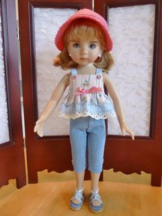 """Crop Top and Capri's Outfit for 13"""" Effner Little Darling Doll by Apple"""