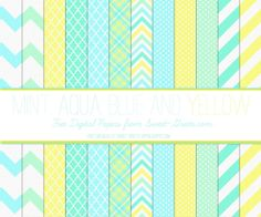 Free Digital Paper Set : Mint, Aqua, Light Blue and Yellow