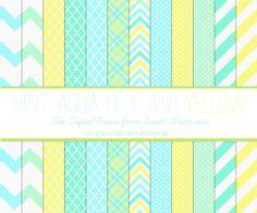 Free Digital Paper Set : Mint, Aqua, Light Blue and Yellow