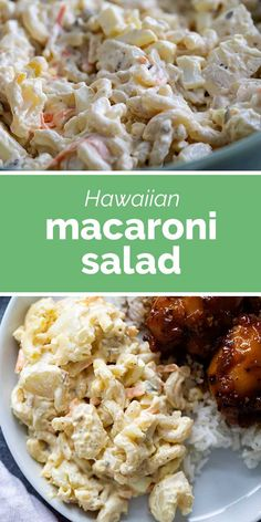 The perfect Hawaiian side dish, this Hawaiian Macaroni Salad is a creamy combination of pasta salad and potato salad. Perfect served with Shoyu Chicken. Side Dish Recipes, Dinner Recipes, Easy Recipes, Chef Recipes, Family Recipes, Summer Recipes, Shoyu Chicken Recipe, Hawaiian Side Dishes, Soup And Salad