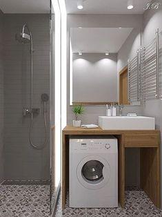 New tiny house bathroom layout laundry rooms 28 ideas Tiny Laundry Rooms, Laundry Room Bathroom, Tiny House Bathroom, Laundry Room Design, Modern Bathroom, Bathroom Faucets, Bathroom Ideas, Bathroom Cabinets, Bathroom Organization