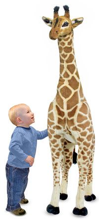 I think my son would love to try to climb on this realistic looking Giraffe by Melissa and Doug.   http://bestofkidstoys.com/melissa-doug-giraffe-plush/