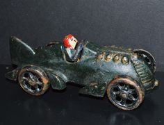 Vintage Hubley Kiddie Cast Iron Indy Car Race car with Driver M Green RARE!!! #HubleyKiddie
