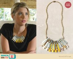 Hanna's black top and yellow/blue necklace on Pretty Little Liars.  Outfit details: http://wornontv.net/13118/