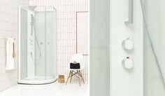 Uusi suihkukaappimme BRIC 4 on selkeälinjainen ja toimiva sekä suurten lasipintojensa ansiosta esteettisesti puoleensavetävä. #Sanka #BRIC #suihkukaappi Bathroom Bath, Decor, Glas, Furniture, Home, Bathtub, Mirror, Home Decor