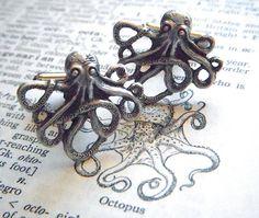 Octopus Cufflinks Popular Vintage Inspired Silver by CosmicFirefly, $24.95