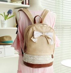 Cute PU Leather Schoolbag w/Lace Bow/Accent Backpack 3 Colors