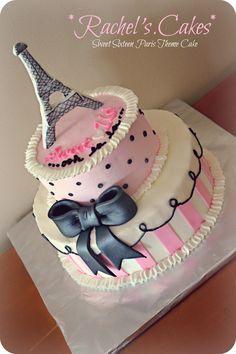Paris Themed Sweet Sixteen Cake