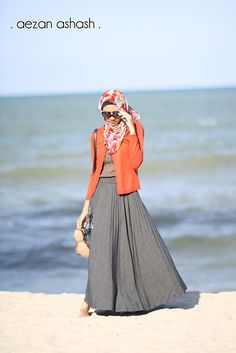 Length and layers make for modesty in dress... The coordinated hijab is stylish and just lovely.