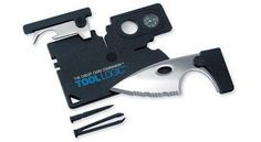 Included in the super-compact Tool Logic Credit Card is a full two-inch serrated blade, precision folding scissors, an 8x magnifying lens, a compass, tweezers, a flat screwdriver, a toothpick and a combination awl/can and bottle opener. The whole tool weighs 1.3 oz and fits snugly in your wallet's credit card holders.