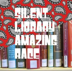 Library Amazing Race idea This would be a great idea over the summer! 30 minute race through the library all while being SILENT! Library Games, Library Book Displays, Teen Library, Library Events, Library Science, Library Activities, School Library Lessons, Library Lesson Plans, Middle School Libraries