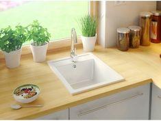 Granitspüle Riga Weiß Riga, Living Room Kitchen, New Kitchen, Oslo, Kitchen Layout, Bergen, Bath Caddy, Space Saving, Home Kitchens