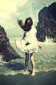standing at the ocean, with the wind in my hair!