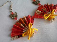 Butterfly Chinese Fan Earrings