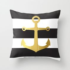 FREE SHIPPING GOLD Foil Anchor Black and White Stripes 18x18 hidden zipper pillow cover throw pillow