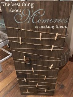 Making Memories Wooden Sign / Picture Board with clips / Pho.- Making Memories Wooden Sign / Picture Board with clips / Photo Board with clips / Wood Picture Frame /Wood Photo Sign /Picture Display Board - Diy Holz, Wood Picture Frames, Pallet Picture Display, Photo Display Board, Handmade Picture Frames, Picture Frame Crafts, Display Boards, Picture On Wood Diy, Picture Craft