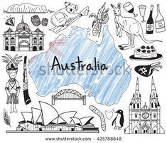Vector de stock (libre de regalías) sobre History Education Subject Handwriting Doodle : Travel to Australia doodle drawing icon with people, culture, costume, landmark and cuisine tourism concept in isolated background, create by vector Australia Day, Visit Australia, Australia Travel, Doodle Drawings, Doodle Art, Doodle Icon, History Channel, Bullet Journal Australia, Travel Doodles