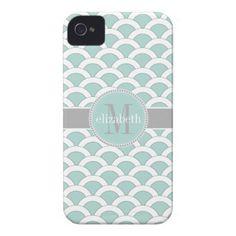 Light Teal White Gray Scalloped Shells Monogram iPhone 4 Cases.  $44.95
