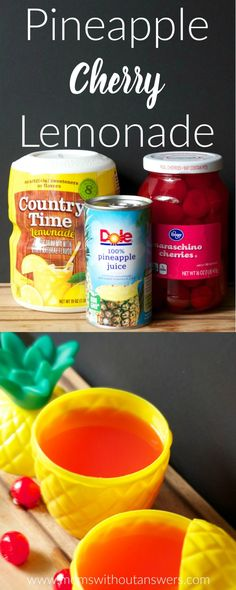 Easy Pineapple Cherry Lemonade perfect drink recipe for summer pool parties, beach days or BBQs. Non Alcoholic Summer Drink