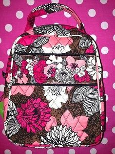 New Vera Bradley Lets do Lunch Mocha Rouge Pink Box Bag School Tote Cooler | eBay