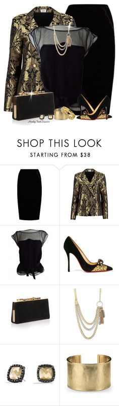 """Gold and Black"" by honkytonkdancer ❤ liked on Polyvore featuring Jupe By Jackie, Sania Studio, Louis Vuitton, Christian Louboutin, Jimmy Choo, Jessica Simpson, David Yurman, Blue Nile, Cathy Waterman and dressy"