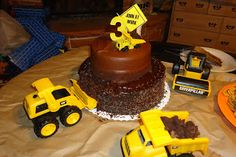 """The Turner Boys - the """"dig in"""" construction cake was a hit for a three year old construction party!"""