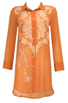 Orange applique work shirt tunic available only at Pernia's Pop-Up Shop.