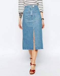 Image 4 ofASOS Denim Midi Skirt With Patch Pockets In Mid Wash Blue
