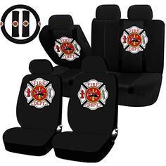 #11 #Piece Auto #Interior #Gift #Set - #Fire #Fighter #Firefighter #Maltese #Cross - A #Set of #2 #Seat #Covers, #1 #Rear #Bench #Cover, #1 #Steering #Wheel, and a #Set of #2 #Seat #Belt #Pads #Seat #covers made from polyester #Steering #wheel #cover fits most standard size #steering wheels (14.5 - 15.5 inch) Shoulder #pads relieve pressure from #seat belts https://automotive.boutiquecloset.com/product/11-piece-auto-interior-gift-set-fire-fighter-firefighter-maltese-cross-a-s
