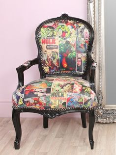I really want a chair like this for my bedroom, don't know about the comic book pattern but its pretty cool