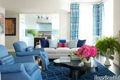 Living Room Shades of Blue 3 - Trend Home Ideas Living Room Seating, My Living Room, Home And Living, Living Room Decor, Living Spaces, Living Area, Manhattan Apartment, Manhattan Penthouse, Penthouse Apartment