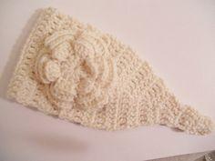 Crochet Headband Earwarmer in ivory cream by needlepointnmore, $12.00