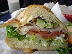 Turkey, Bacon, Avocado, Tomato on a croissant...my favorite sandwich.