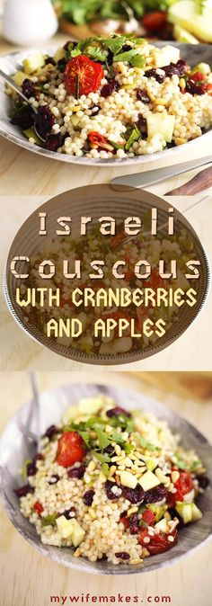 Delicious Israeli Couscous with Apples, Cranberries, Pine Nuts, Herbs and Roasted Tomatoes. Healthy, light, Vegan.
