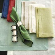 A beautiful napkin display - whether a fold or with a ring - always completed a tablescape! Southern Living Set of 4 Collectable Napkin Rings | Ballard Designs