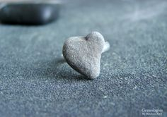 Raw Stone Jewelry, Natural Beach Stone Ring, Heart Shaped Rock, Girlfriend Gift, Birthday Present for Wife or Daughter, Bridal Jewelry by Gemologies on Etsy