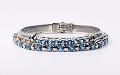 In #CherryOrchardAttic on #eBay Lot of Two (2) Sterling Silver Blue Topaz Bracelets (Hinged Bangle + Tennis) #bluetopaz #bluetopazbracelets #bluetopazbangle #tennisbracelet #sterlingsilver #silver #blue #gemstone #silverbracelet #braceletstack #somethingblue #jewelry #silverjewelry #braceletlot