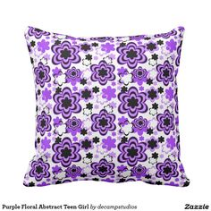 Purple Floral Abstract Teen Girl Pillow