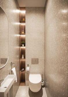 Toilet room - Simplicity beauty on Behance Washroom Design, Bathroom Design Luxury, Modern Bathroom Design, Toilet And Bathroom Design, Small Bathroom Interior, Niche Design, Wood Design, Small Toilet Design, Small Toilet Room