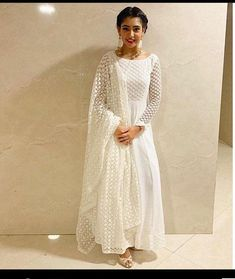 Excited to share this item from my shop: White chiffly Anarkali dress salwar kameez indian outfit gown kaftan custom made Readymade dress Pakistani shalwar suits Source by designsandhya dresses pakistani Indian Gowns Dresses, Indian Fashion Dresses, Dress Indian Style, Indian Designer Outfits, Pakistani Dresses, Indian Outfits, Pakistani White Dress, Bridal Anarkali Suits, Nikkah Dress