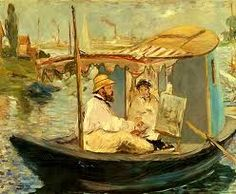 Edouard Manet Claude Monet working on his boat in Argenteuil oil painting for sale; Select your favorite Edouard Manet Claude Monet working on his boat in Argenteuil painting on canvas or frame at discount price.