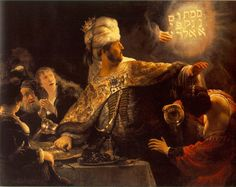 "Rembrandt's ""Belshazzars Feast,"" 1635. National Gallery London. Insanely gorgeous light and composition."