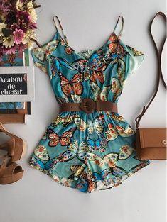 Macaquinho Babado Primavera de Borboleta Overalls, Shorts, Cute Summer Outfits, Casual, Jumpers, Clothes, Delicate, Dresses, Style