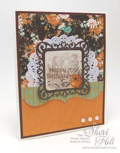 MY SHERI CARDS: The Stamp Simply Ribbon Store - Fall Birthday featuring Kaisercraft Miss Empire - designed by Sheri Holt