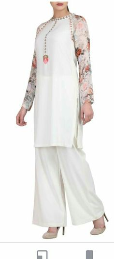 c30c7dce Buy White kurta with printed sleeves & trousers by Varun Bahl at Aza  Fashions