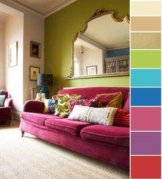 Cores opostas no circulo cromatico funcionam bem juntas se a sua intenção é ter contrastes. Red Sofa, Pink Couch, Pink Velvet Couch, Beige Couch, Purple Sofa, Sofá Vintage, Vintage Sofa, Vintage Velvet, Vintage Style
