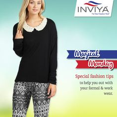 Tip Today:  If your office is cool with it, adorn printed pants with your sweater blouses. They look chic and trendy. Dare to look different.